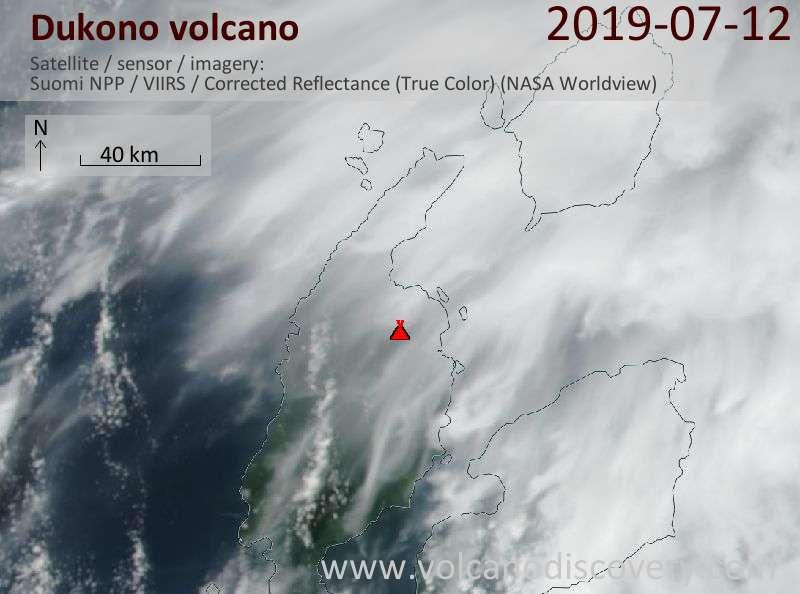 Satellitenbild des Dukono Vulkans am 12 Jul 2019