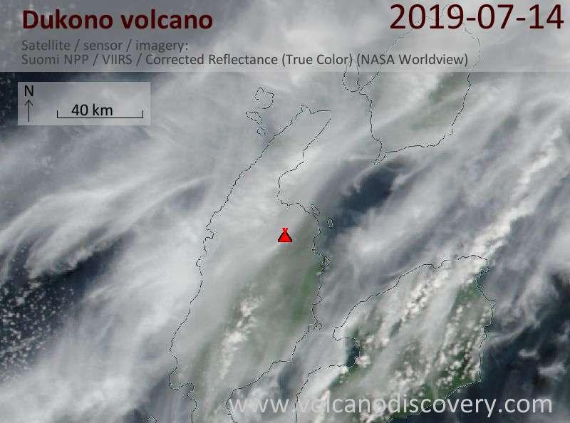 Satellite image of Dukono volcano on 14 Jul 2019