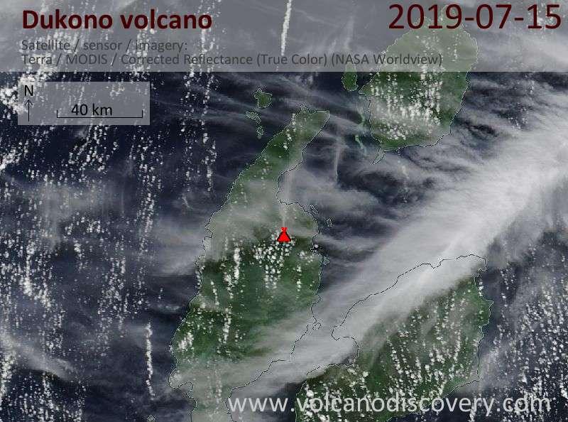Satellite image of Dukono volcano on 15 Jul 2019