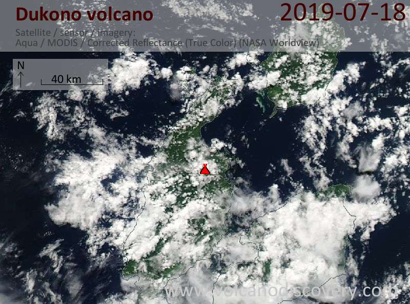 Satellite image of Dukono volcano on 18 Jul 2019