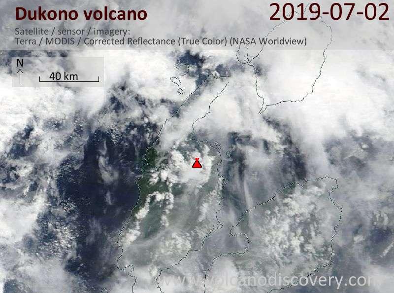 Satellite image of Dukono volcano on  2 Jul 2019