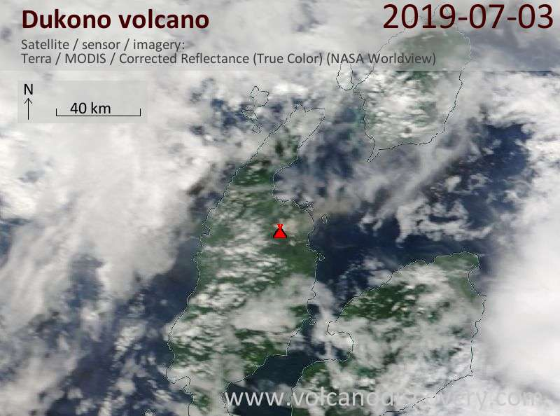 Satellite image of Dukono volcano on  3 Jul 2019