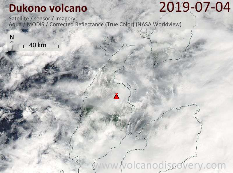 Satellite image of Dukono volcano on  4 Jul 2019