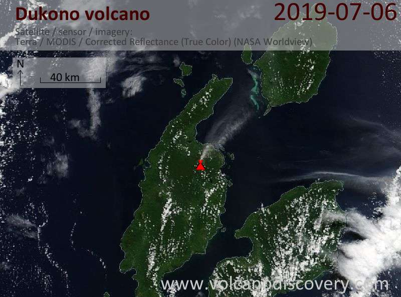 Satellite image of Dukono volcano on  6 Jul 2019