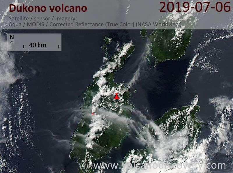 Satellite image of Dukono volcano on  7 Jul 2019