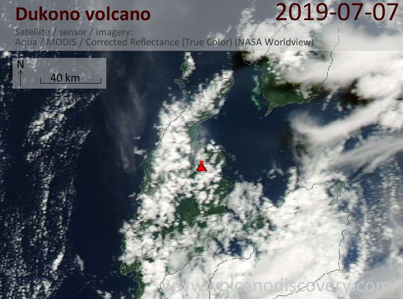 Satellite image of Dukono volcano on  8 Jul 2019
