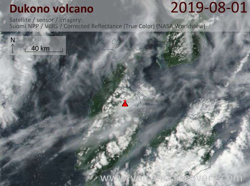 Satellite image of Dukono volcano on  1 Aug 2019