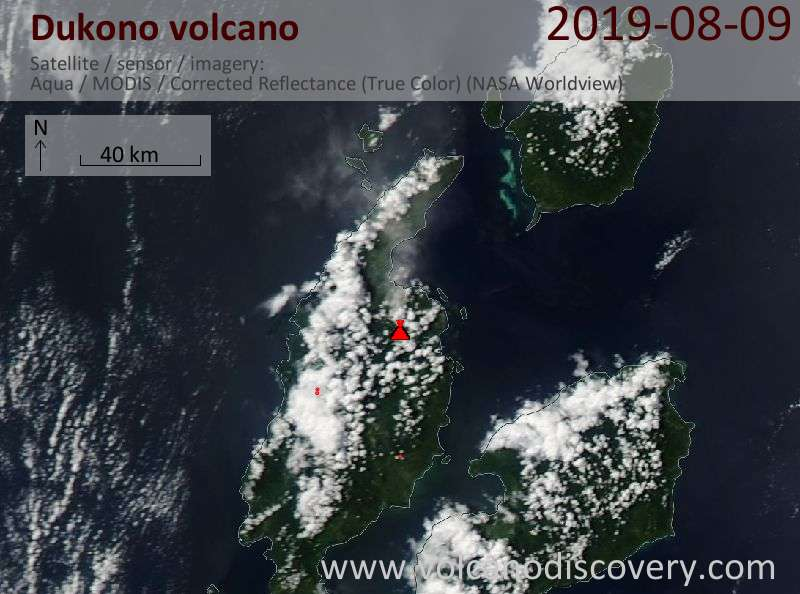 Satellite image of Dukono volcano on 10 Aug 2019