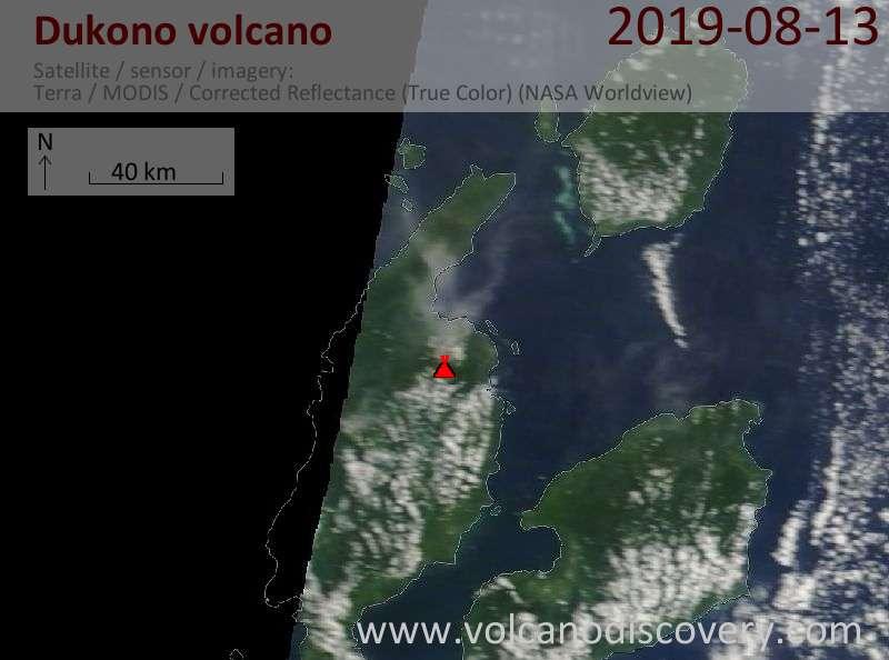 Satellite image of Dukono volcano on 13 Aug 2019