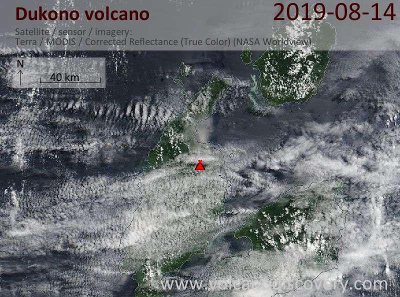 Satellite image of Dukono volcano on 14 Aug 2019