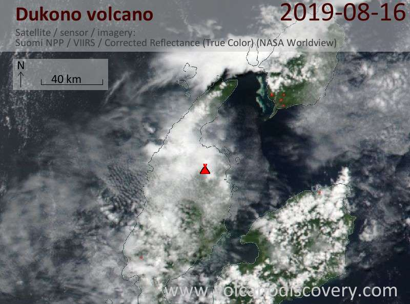 Satellite image of Dukono volcano on 17 Aug 2019