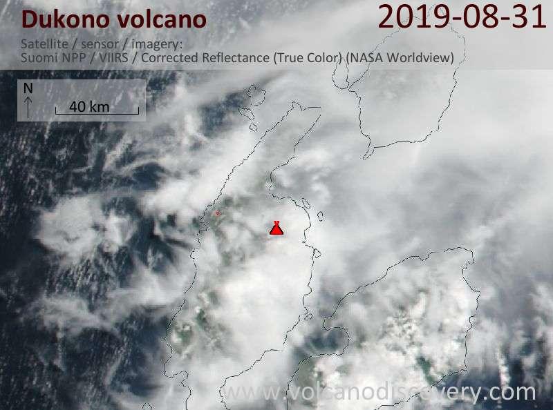 Satellite image of Dukono volcano on 31 Aug 2019