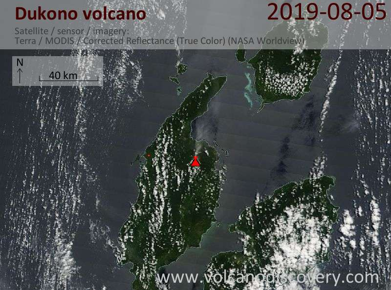 Satellite image of Dukono volcano on  5 Aug 2019