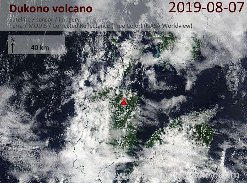 Satellite image of Dukono volcano on  7 Aug 2019