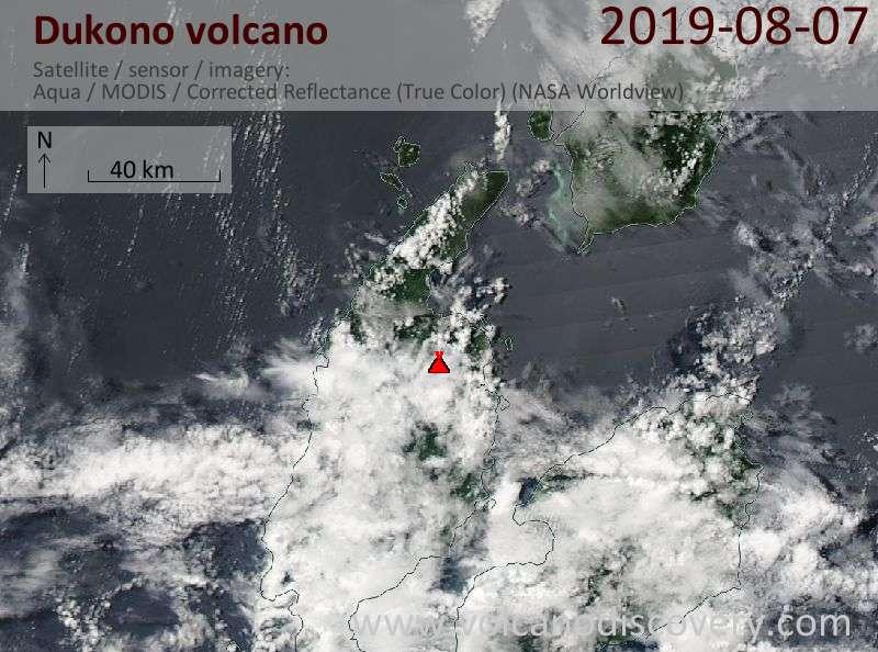 Satellite image of Dukono volcano on  8 Aug 2019