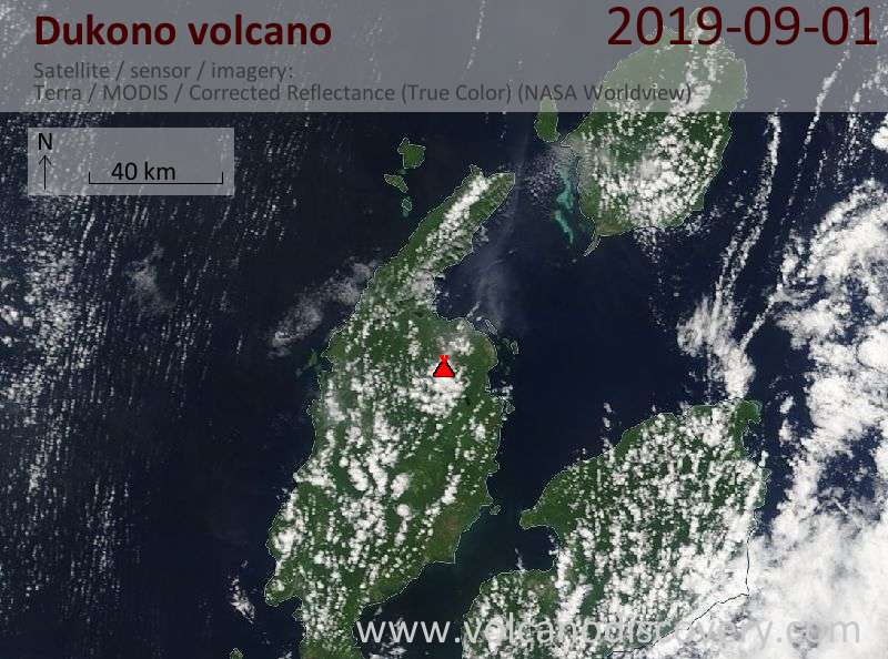 Satellite image of Dukono volcano on  1 Sep 2019