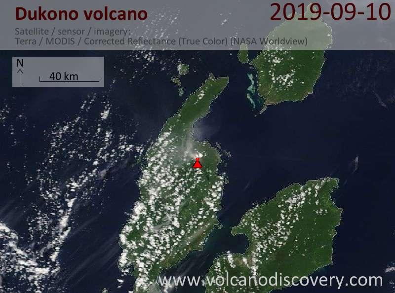 Спутниковое изображение вулкана Dukono 10 Sep 2019