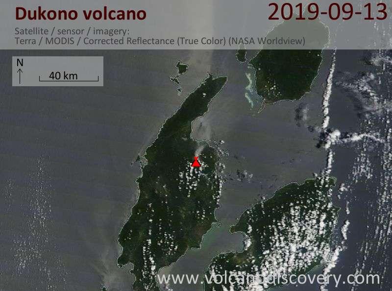 Satellitenbild des Dukono Vulkans am 13 Sep 2019