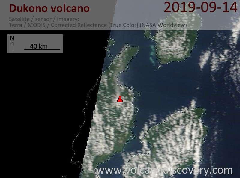 Satellite image of Dukono volcano on 14 Sep 2019