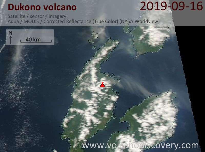 Satellite image of Dukono volcano on 16 Sep 2019