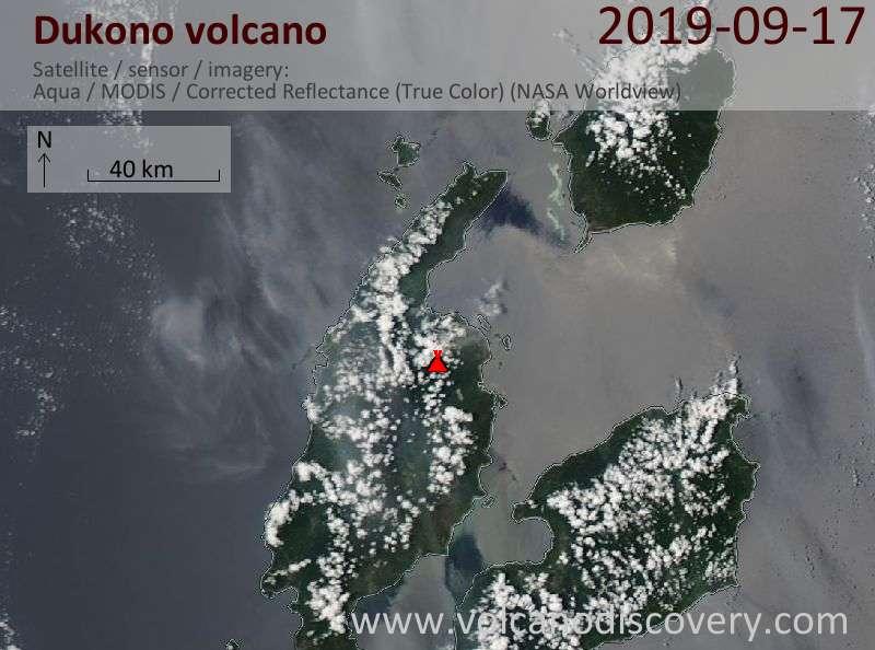 Satellite image of Dukono volcano on 17 Sep 2019