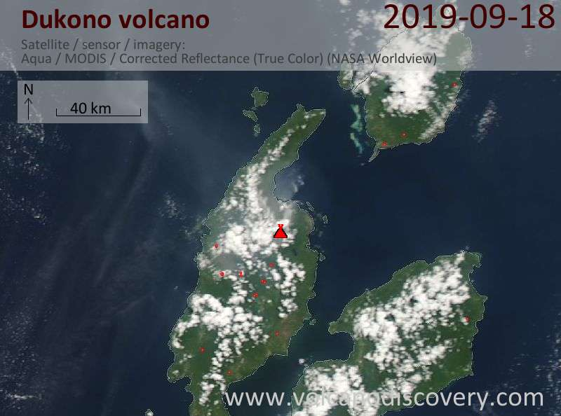 Satellitenbild des Dukono Vulkans am 19 Sep 2019
