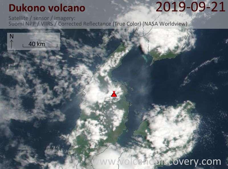 Satellite image of Dukono volcano on 21 Sep 2019
