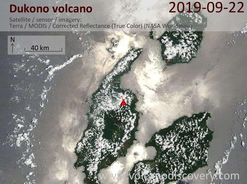 Satellitenbild des Dukono Vulkans am 22 Sep 2019