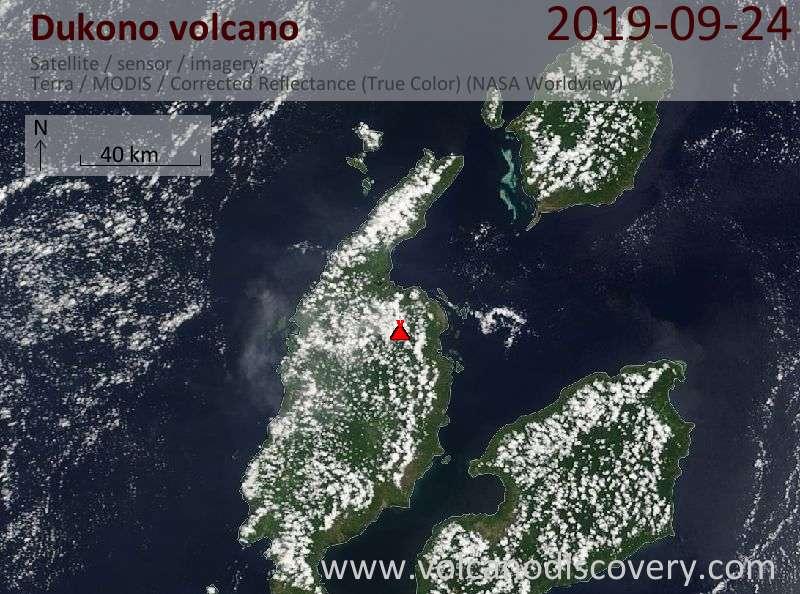 Satellitenbild des Dukono Vulkans am 24 Sep 2019