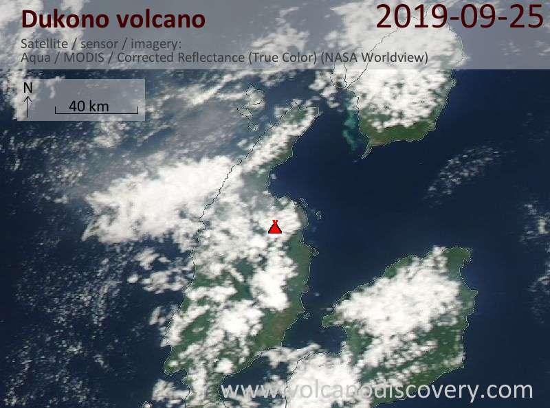 Satellite image of Dukono volcano on 25 Sep 2019