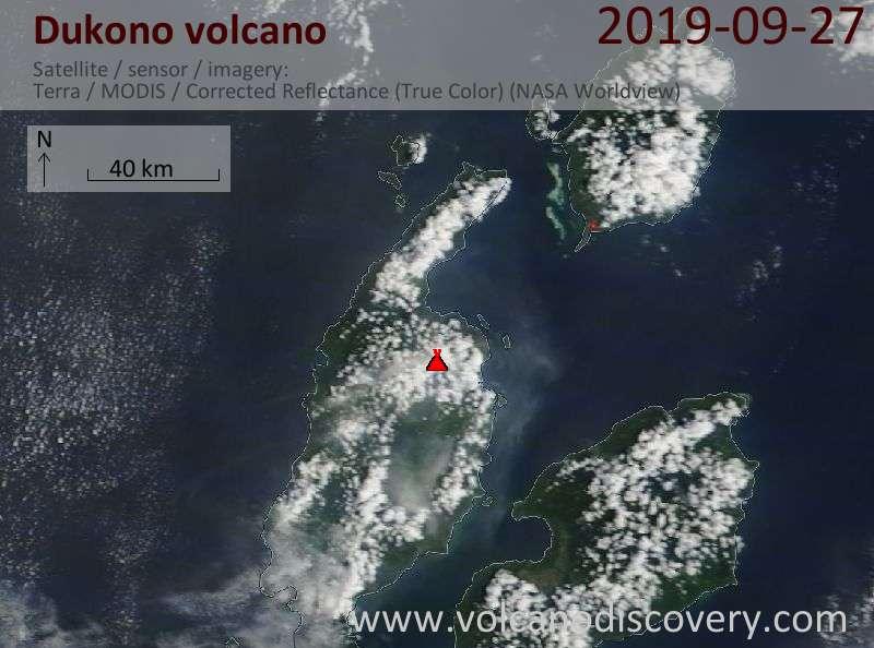 Satellitenbild des Dukono Vulkans am 27 Sep 2019