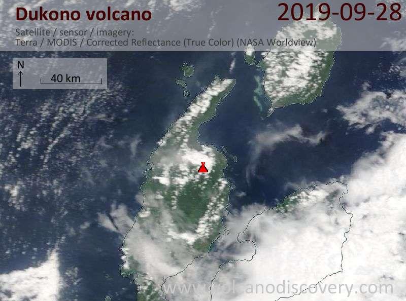 Satellitenbild des Dukono Vulkans am 28 Sep 2019