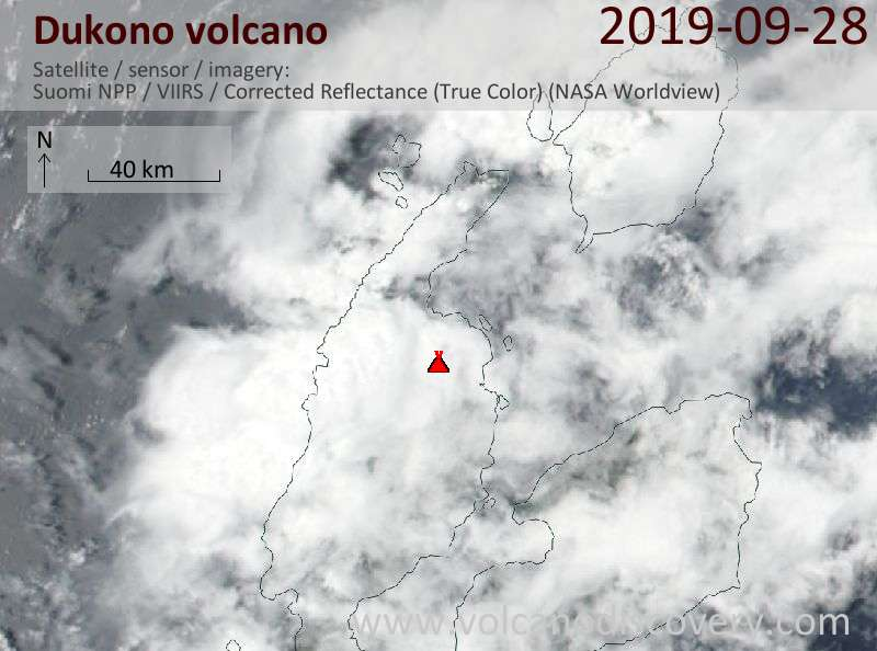 Satellite image of Dukono volcano on 29 Sep 2019
