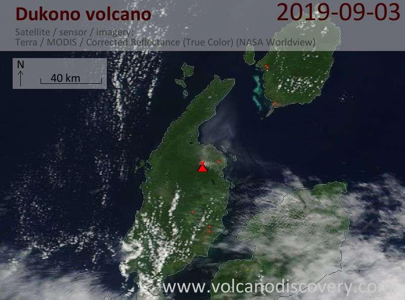 Satellitenbild des Dukono Vulkans am  3 Sep 2019