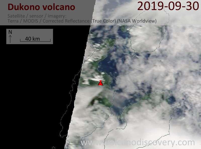 Satellite image of Dukono volcano on 30 Sep 2019