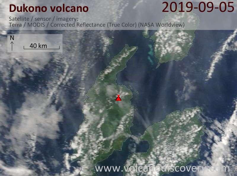 Satellite image of Dukono volcano on  5 Sep 2019