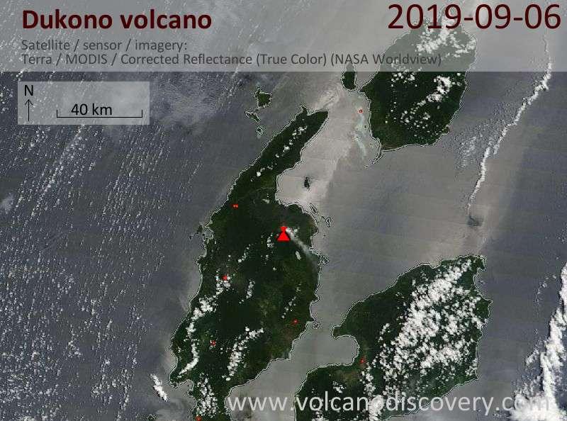 Спутниковое изображение вулкана Dukono  6 Sep 2019