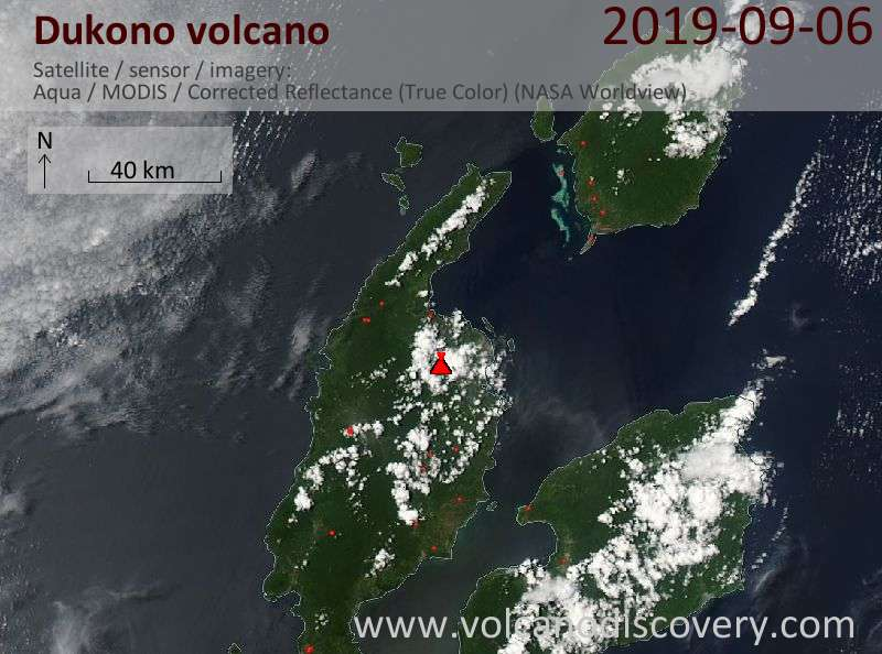 Satellite image of Dukono volcano on  7 Sep 2019