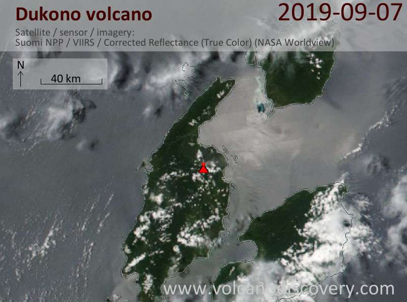 Satellitenbild des Dukono Vulkans am  8 Sep 2019