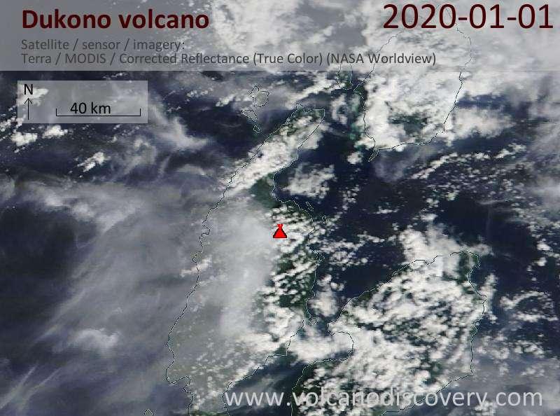 Satellite image of Dukono volcano on  1 Jan 2020