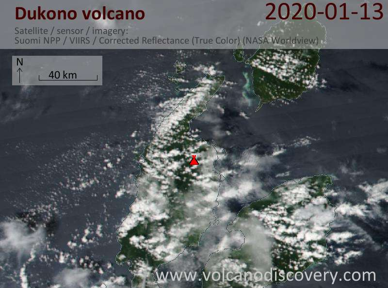 Satellite image of Dukono volcano on 13 Jan 2020