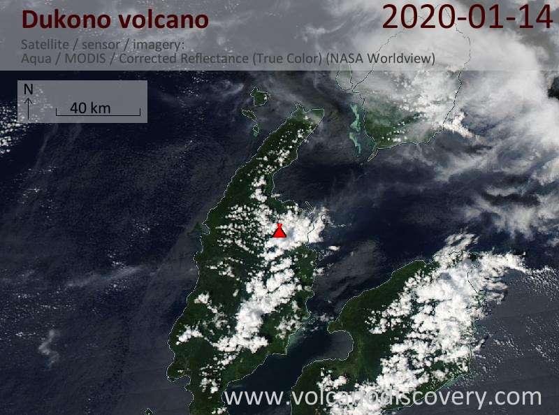 Satellite image of Dukono volcano on 14 Jan 2020