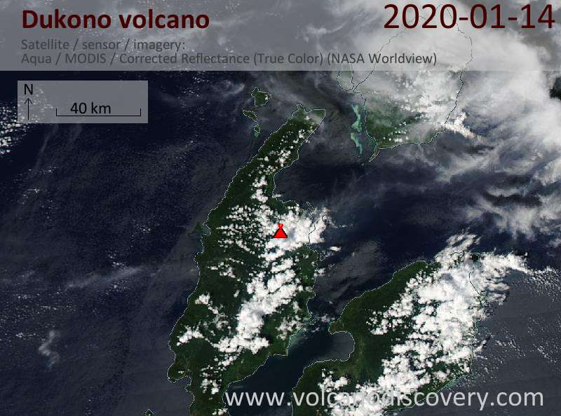 Satellite image of Dukono volcano on 15 Jan 2020