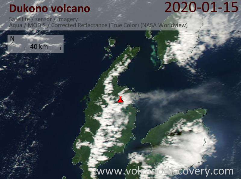 Satellite image of Dukono volcano on 16 Jan 2020