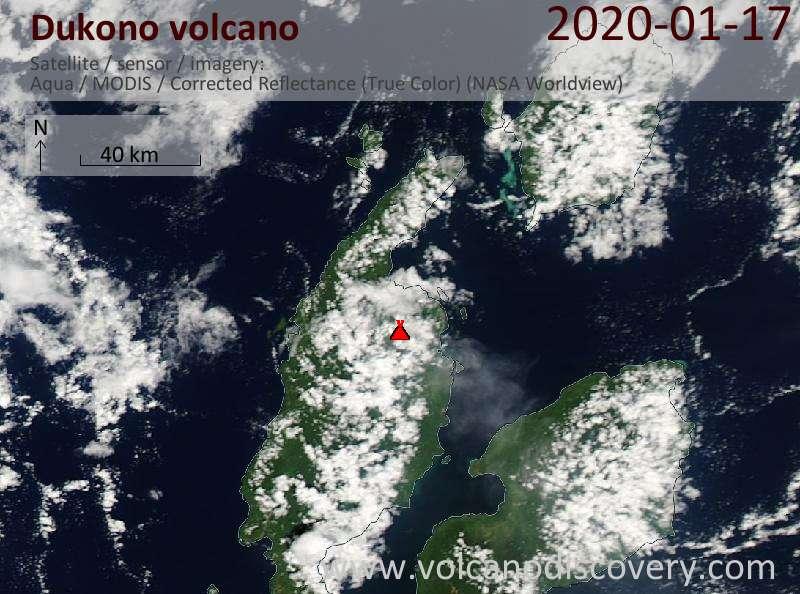 Satellitenbild des Dukono Vulkans am 17 Jan 2020
