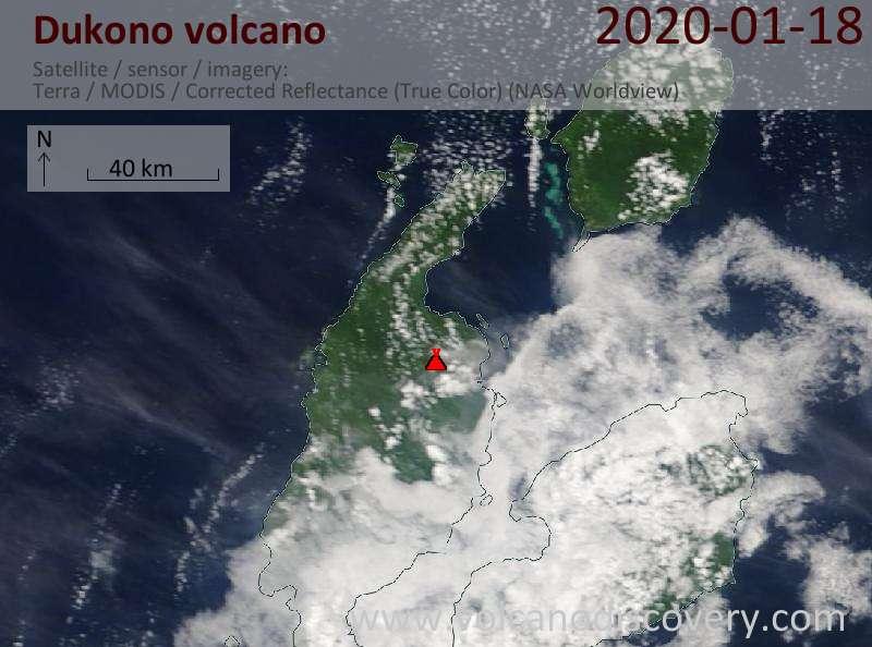 Satellite image of Dukono volcano on 18 Jan 2020