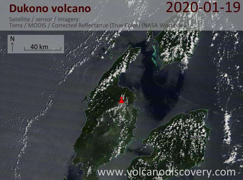 Satellite image of Dukono volcano on 19 Jan 2020