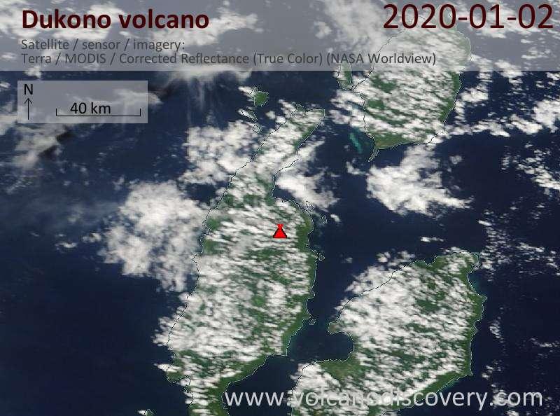Спутниковое изображение вулкана Dukono  2 Jan 2020