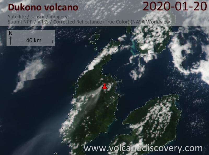 Satellitenbild des Dukono Vulkans am 20 Jan 2020