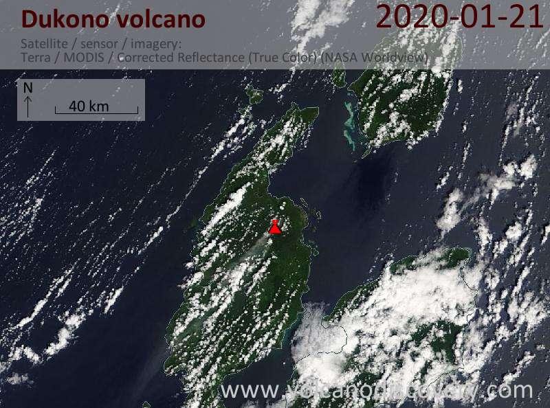 Satellite image of Dukono volcano on 21 Jan 2020